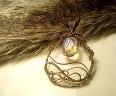 Strieborný Hildur, wire pendant moon stone diy wrapping copper jewelry