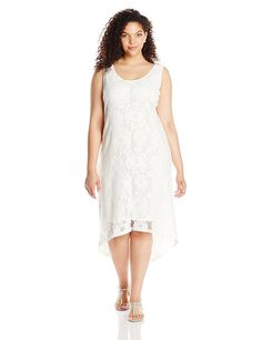 bbb0defd045 Modamix Women s Plus-Size Lace Scoop Neck Sleeveless Maxi Dress with Hi-lo  Hem
