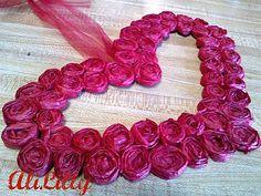 Cute tissue paper rose heart wreath