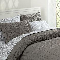 100 Cotton Grey Ruffle DOONA Quilt Duvet Cover Set BNIP Queen RRP$183 Last | eBay