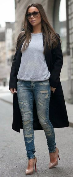 Boyfriend Sweater + Hot Ripped Jeans / Best LoLus Street Fashion