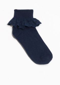 Adorable cotton-blend socks accented with a frilled edge.