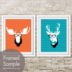 Moose and Deer Head (Set 2 8x10 Prints) Featured in colors Crimson Orange and Oceanic Blue (customizable colors) on Etsy, $25.90