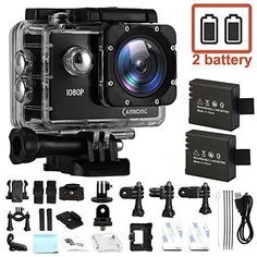 CAMKONG Helmet Camera Action Camera HD 1080P Waterproof Cam Underwater Camera Ultra 170°Wide-Angle Lens with Dual 1050mAh Batteries and Mounting Accessories Kits for Bike Motorcycle
