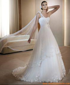 nieuw stijl zuiver wit een schouder prinses tule met bloemen trouwjurk