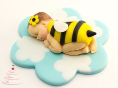 Fondant baby bee cake topper baby shower birthday by GabisSugarArt