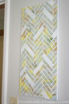 DIY Herringbone Canvas Art- maybe using cool scrapbook paper?