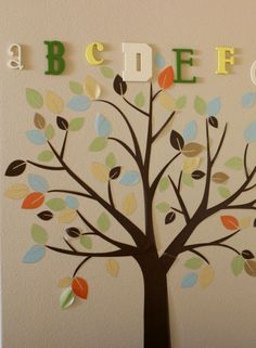 tree and letters in a kids' room