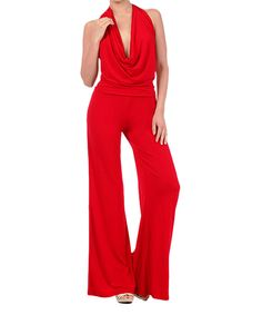 de55a4d09b54 Love this Red Drape Neck Jumpsuit by Karen T. Design on  zulily!