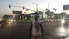 Yann Geoffrey, the Promotional Model King, PMK, strolling down west Hollywood LA