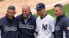 Core Four reunited - Mariano Rivera & Andy Pettitte throw out the first pitch to Jorge Posada & Derek Jeter at Yankees home opener.....This was Derek Jeter's last Opening Day because of his retirement as a professional baseball player at the end of the season. (4-4-14)