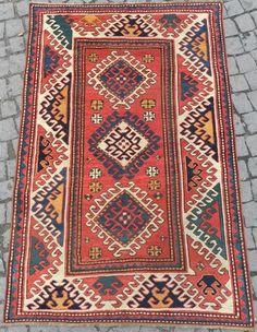 Antique Caucasian Bordjalou Kazak Rug