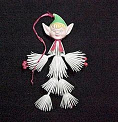 Vintage Plastic Elf Christmas Tree Ornament. Made in Hong Kong probably 1960s 1970s.