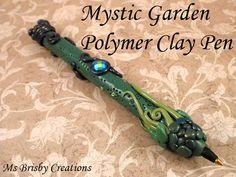 Mystic Garden Polymer Clay Pen by MsBrisbyCreations on Etsy, $8.50