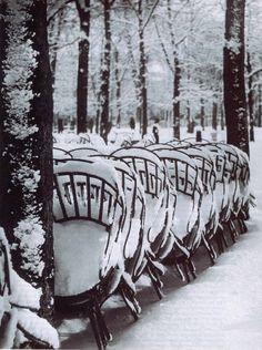 Chaise du jardin du Luxembourg en hiver, Paris, 1953, Brassai
