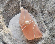Pink Seaglass Necklace - Rare Color - Sterling Silver Seaglass Necklace
