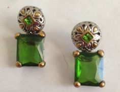 "Green Glass Earrings Square Design Hypoallergenic Dangle Posts 1"" L New Party #DavenportDesigns #DropDangle"