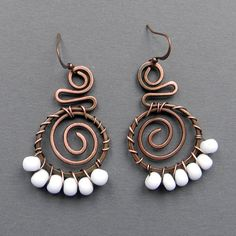 Copper Wire Wrapped  Earrings  with white glass by Anabel27shop,