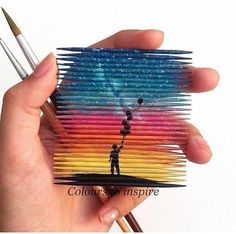 Creative art with toothpicks Popsicle Stick Art, Ideias Diy, Craft Stick Crafts, Art Tips, Cute Drawings, Diy Art, Art Inspo, Art Sketches, Amazing Art