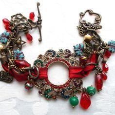 Bracelet métal bronze rouge vert violet bleu