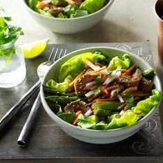 Sesame Beef & Asparagus Salad Recipe -Cooking is one of my favorite hobbies—especially when it comes to experimenting with fresh ingredients like these. It's wonderful at the start of asparagus season. — Tamara Steeb, Issaquah, Washington