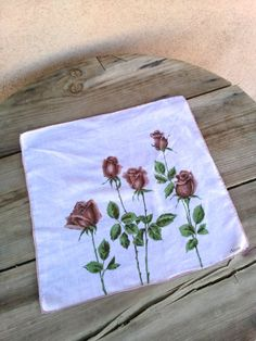 Vintage 1950s Handkerchief Hanky Long Stemmed Roses 201663 by bycinbyhand on Etsy