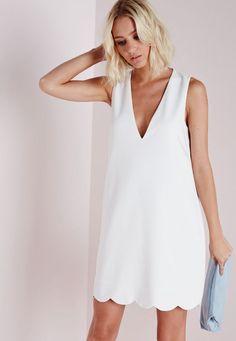 wholesale sleeveless deep V crepe plunge scallop hem shift dress white