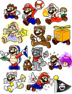 Super Mario 3D Land Power-Up Doodles (Mario) Color by ~SuperLakitu #nintendo #mario #powerups