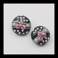 2PCS Black Murano Glass BeadsFlower Beads Glass by Girljewelrybox