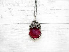 Silver wire wrapped necklace, natural Ruby necklace, Ruby tearsrop necklace, red magenta jewelry for her, luxury gift