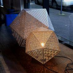 Geometrical laser cut floor lamps