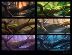 Gallery via PinCG.com Landscape Concept, Fantasy Landscape, Forest Illustration, Landscape Illustration, Environment Concept Art, Environment Design, Composition Art, Color Script, Matte Painting