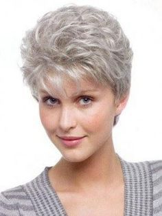Perfect Wavy Synthetic Short Grey Hair Color Wigs is the Best selection of Grey Wigs when we shop wigs . Visit our online store to buy latest designs. Hair Styles For Women Over 50, Short Hair Cuts For Women, Short Hairstyles For Women, Short Cuts, Short Grey Haircuts, Haircuts For Fine Hair, Curly Haircuts, Short Curly Hair, Curly Hair Styles