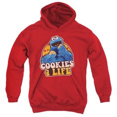 Sesame Street Cookies 4 Life Red Youth Hooded Sweatshirt