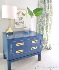 peacock blue painted faux bamboo chest    a bunch of Furniture Makeovers @:   http://www.centsationalgirl.com