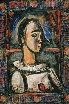 Painting by Georges Rouault, 1936, Pierrot aver rose, oil on canvas, The Philadelphia Museum of Art.