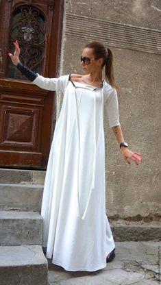 Платье White Grunge - купить или заказать в интернет-магазине на Ярмарке Мастеров - 8SN41RU. София   Макси платье в стиле гранж с необработанными…