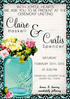 Printable Mason Jar Wedding Invitations | Vintage Mason Jar Wedding Invitation- printable template diy print ...