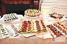Great sweet spread idea, Guests snacked on sweet treats during the reception. Delicious Desserts, Dessert Recipes, Fall Wedding Cakes, Wedding Ideas, Dessert Buffet, Creative Cakes, Good Food, Fun Food, Finger Foods