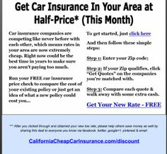 Stop overpaying for Auto Insurance in California. Visit http://CaliforniaCheapCarInsurance.com to enter zip and cut insurance by up to Half