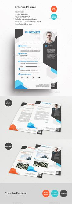 Creative Resume by KhidD Creative Resume Description : Creative Resume, is clean and simple, Easy to edit text, color and image Graphics Files Included : 6
