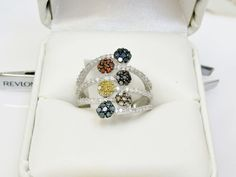 Real 1 Carat Diamond Rainbow Cluster Ring Silver Sz 6 Fancy Color Multi Band  #Cluster #Dress