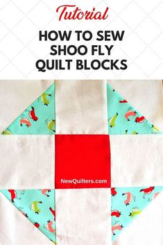 """How to Sew Shoo Fly quilt blocks. This easy favorite is quick to make from 5"""" charm squares (precut friendly!) and half-square triangles you can sew four at a time. #easyquiltblocks #shooflyquiltblock #quiltpiecing #quiltingforbeginners via @NewQuilters Beginner Quilt Patterns, Star Quilt Patterns, Quilting For Beginners, Quilting Tutorials, Quilting Ideas, Craft Tutorials, Scrappy Quilts, Easy Quilts, 9 Patch Quilt"""