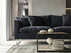 Большой синий диван в гостинной загородного дома - Blue sofa living room decor couch Interior Projects, Interior Design, Furniture, Living Room, Home, Interior, Girl Decor, Home Decor, Room