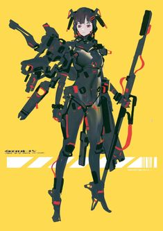 Anime Character Drawing, Character Sheet, Character Concept, Character Art, Android Art, Character Design Girl, Anime Weapons, Suit Of Armor, Futuristic Design