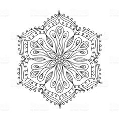 Hand drawn contour mandala royalty-free stock vector art