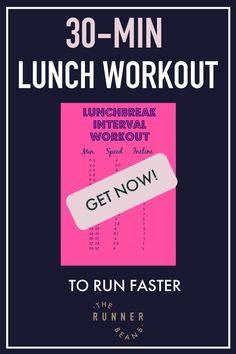 """""""30 minutes and treadmill during your lunchbreak is all it takes to be a faster runner. Click now and get started #lunchbreakworkout #lunchbreakworkouttreadmill #treadmillworkout #30minuteworkout #therunnerbeans """" Running Workout Plan, Speed Workout, Treadmill Workouts, At Home Workouts, Walking Workouts, Body Workouts, Workout Plans, Hiit, Running For Beginners"""
