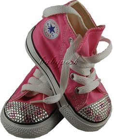 Austrian crystal rhinestones and detailed with sparkling flower pattern to give that girly accent! This would definitely make your little girl look simple yet hip and chic! These unique converse shoes are designed for little girls ages 3 months up to being a toddler. Perfect both for indoor and outdoor activities without having sores on your little girl's tiny feet and sensitive sole! It is always cute to give your daughter a dash of bling and glamor sometimes.