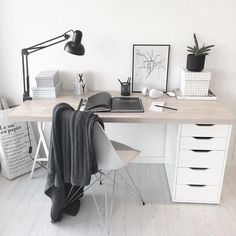 6 Cheap And Easy Unique Ideas: Minimalist Bedroom Diy Dreams minimalist living room decor scandinavian style.Minimalist Interior Decor Home Office. Minimalist Desk, Minimalist Bedroom, Minimalist Interior, Home Office Space, Home Office Desks, Small Office, Office Ideas For Home, Home Office Table, Ikea Office