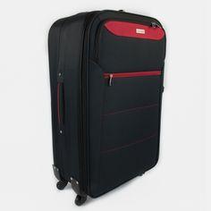 Čiernočervený cestovný kufor veľký